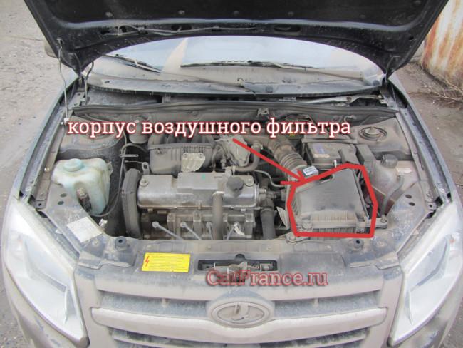 Грязный двигатель Лада Гранта