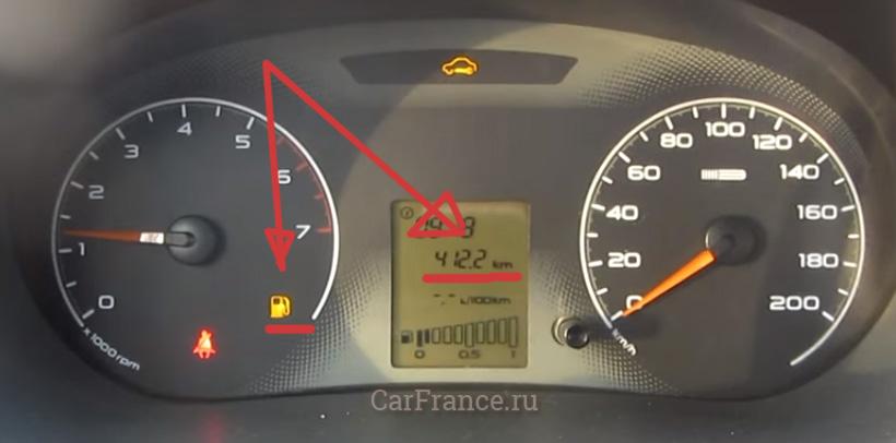 Как измерить средний расход по контрольной лампе бензина Лада Гранта