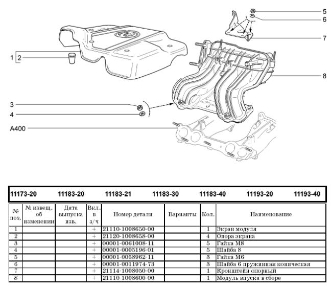 Модуль впуска двигателя 11183