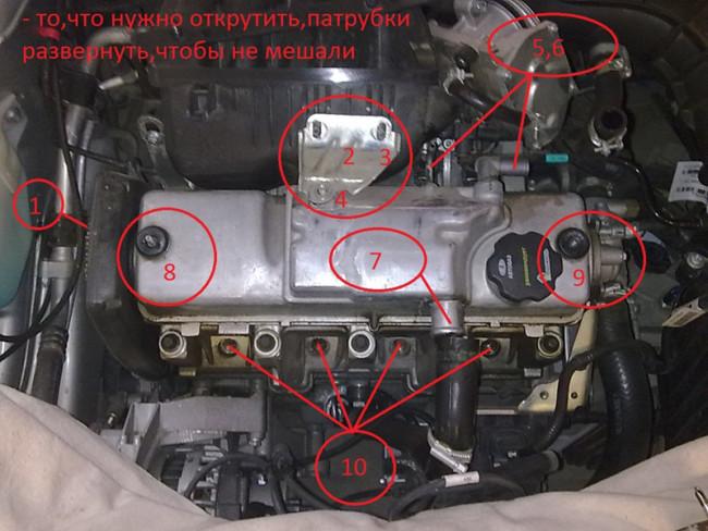 Двигатель Лада Гранта с схемой болтов