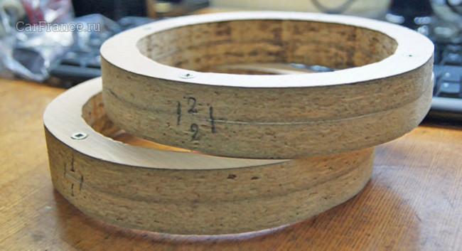 Проставка из двух колец для установки 16 см колонок в дверь Лада Гранта