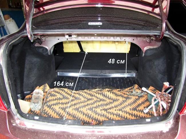 Габариты багажника Лада Гранта Седан с опущенными задними сидениями