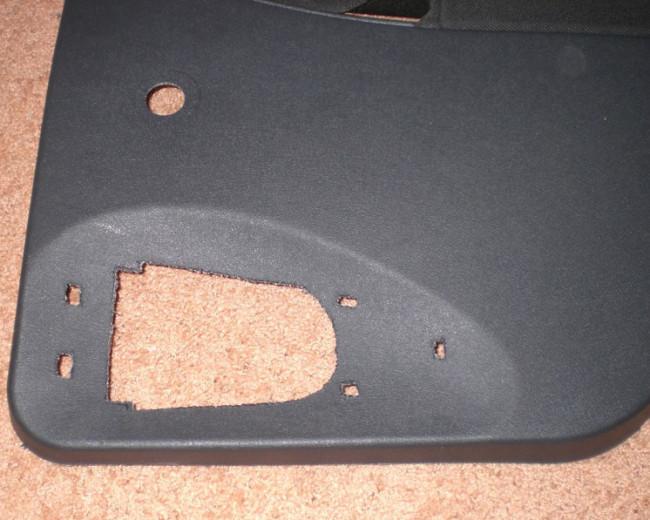 Вид обшивки задней двери с вырезом
