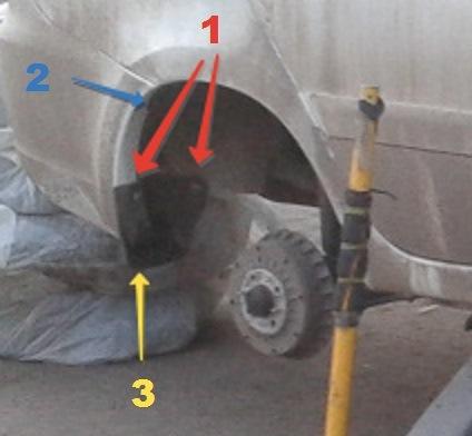 Схема болтов закрылок и крепления бампера к заднему крылу Лада Гранта