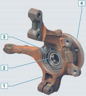 Схема ступицы и поворотного кулака Рено Логан