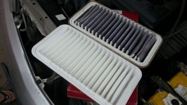 Старый и новый салонный угольный фильтры