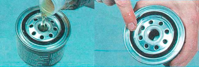 Подготовка масляного фильтра к монтажу