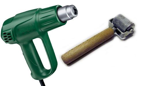 Строительный фен и ролик для шумоизоляции.