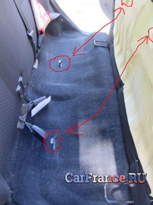 Петли крепления сидения и кузова на фото Лада Гранта
