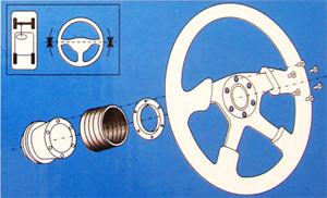 Техническая схема разбора деталей при установке спортивного руля на Лада Гранта