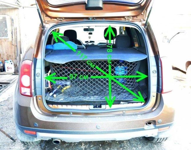 Габариты двери багажника Рено Дастер 2011