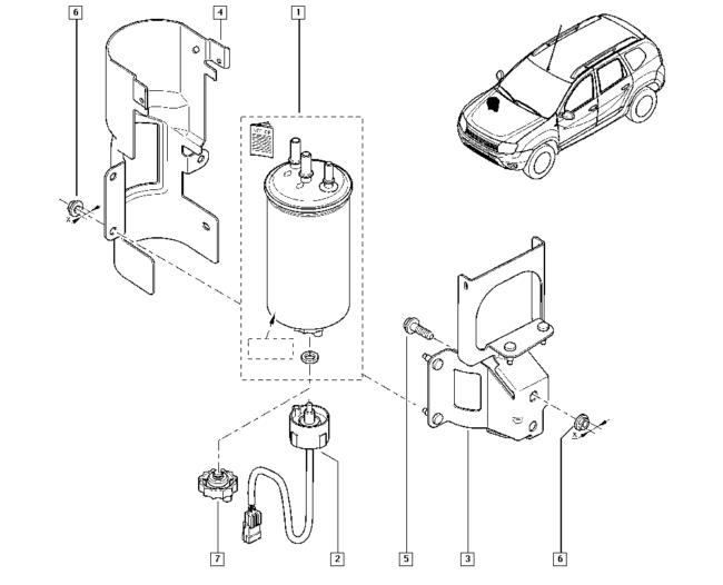 Фильтр топлива на дизельном Дастере