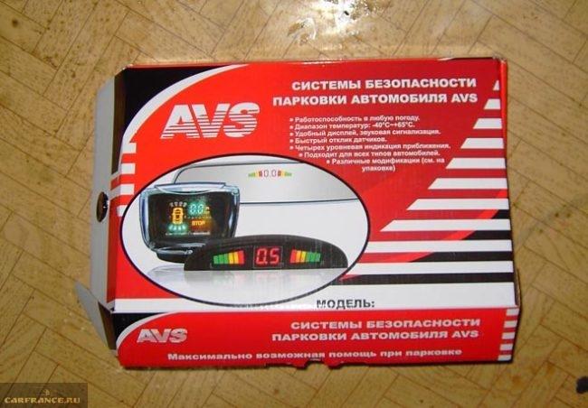 Упаковка парктроника фирмы AVS
