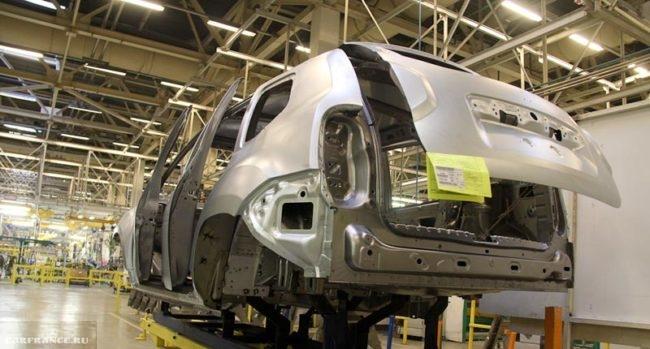 Кузов на производстве Рено Дастер на конвеере