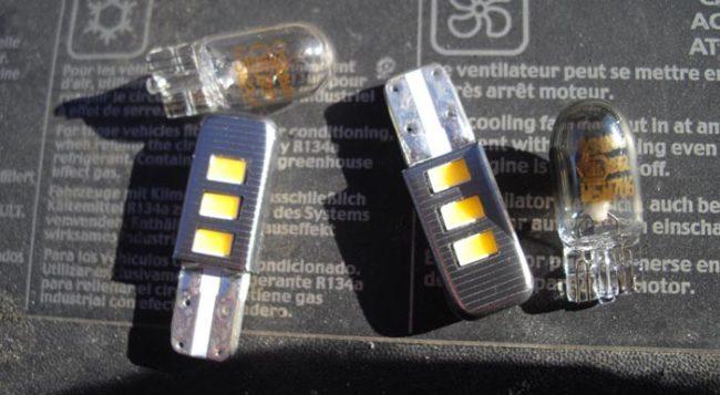 Обычные и диодные лампы в габаритные огни на Рено Логан