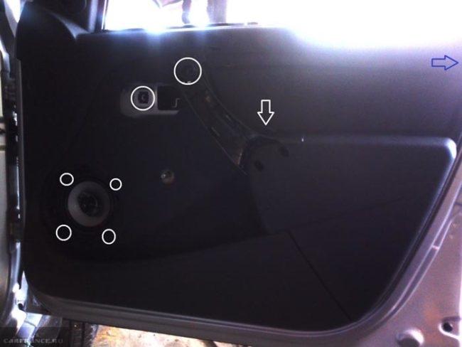 Места крепления обшивки к кузову автомобиля Рено Дастер