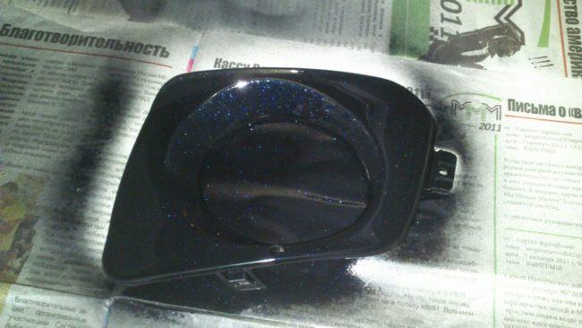 Покраска накладки ПТФ в цвет бампера Лада Калина