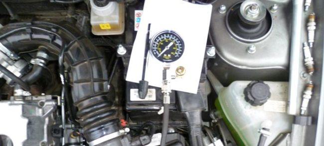 Проверка компрессии двигателя Калины