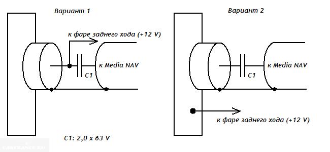 Схема подключения видеокамеры с внешним питанием