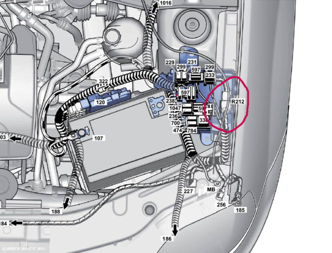 Разъём R212 в Рено Логан