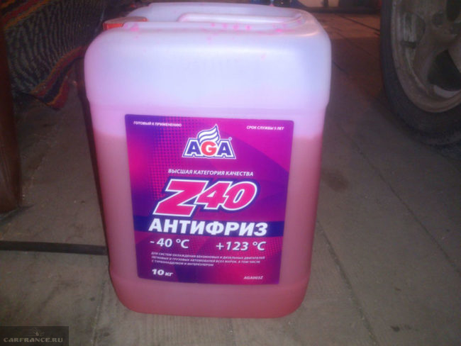 Антифриз Z40 AGA для замены штатного на Лада Калина