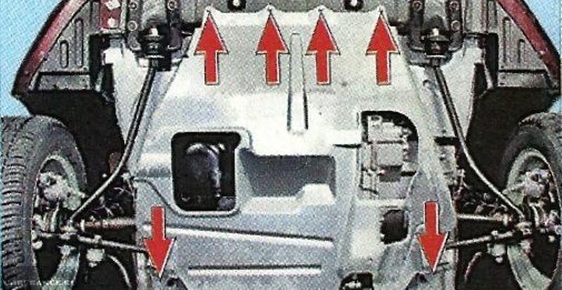 Места креплений защиты двигателя Лада Калина