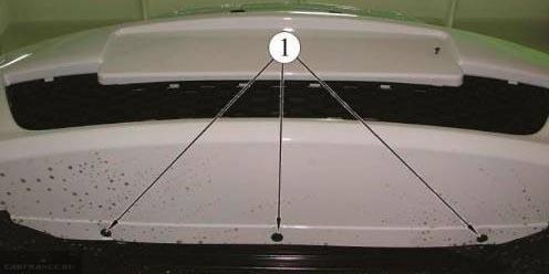 Места крепления переднего бампера на Лада Ларгус к подрамнику