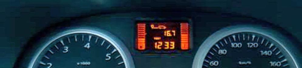 Расход топлива на 100 км на экране бортового компьютера Рено Дастер