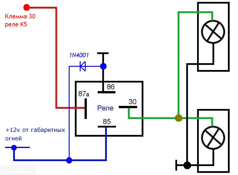 Схема подключения дхо через ручник с реле