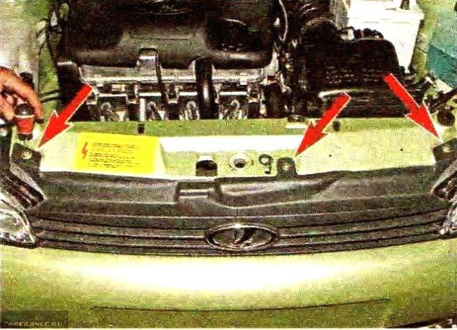 Болты крепления бампера сверху кузова