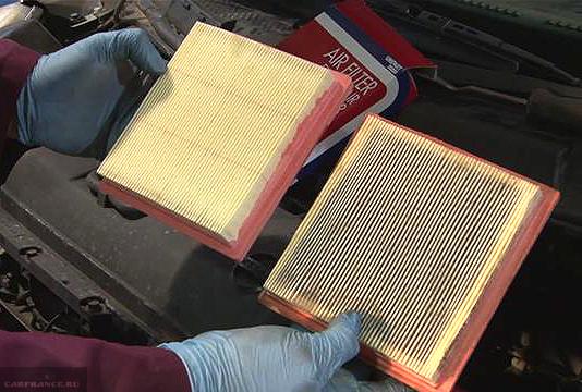 Загрязненный и новый воздушный фильтр Калина