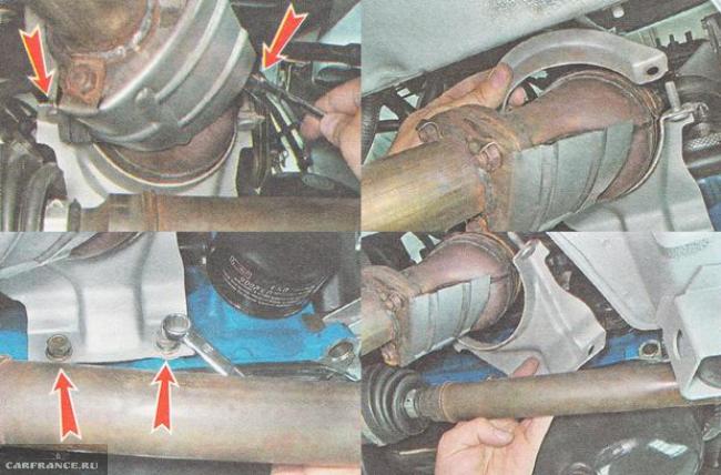 Снимаем кронштейн крепления катализатора ВАЗ 21124