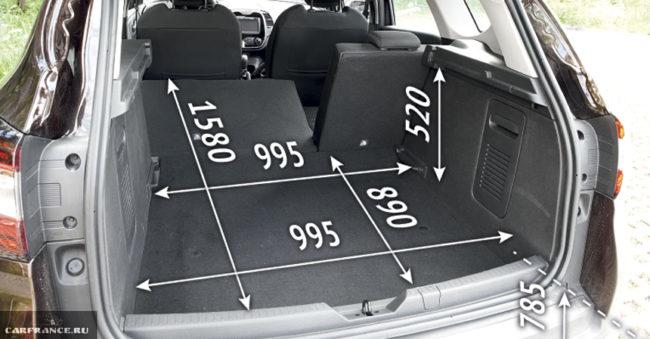 Габаритные размеры багажника Каптур