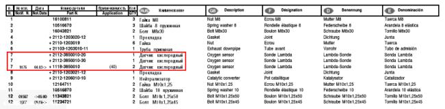 Артикулы выхлопной системы 2112