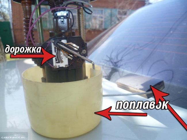 Датчик уровня топлива вблизи с указанием дорожки и поплавка на ВАЗ-2112