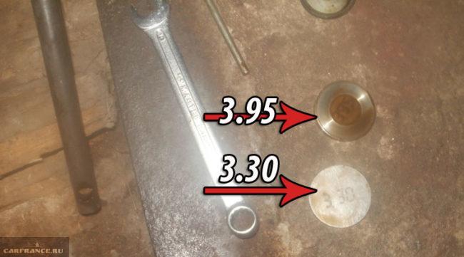 Регулировочные шайбы для настройки клапанов на ВАЗ-2112 размер 3.30 и 3.95