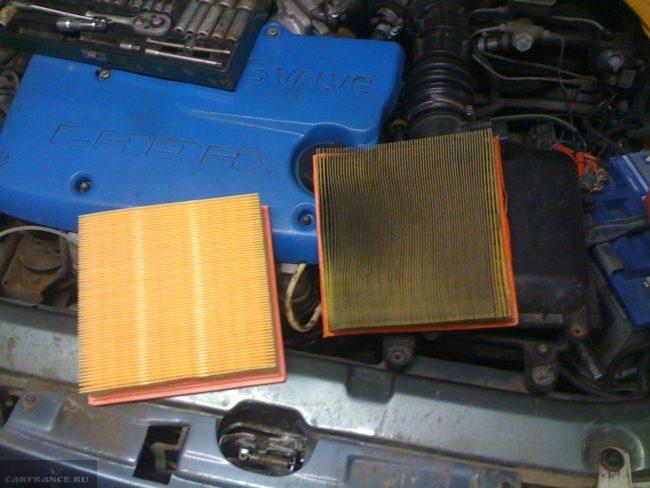 Старый и новый воздушный фильтр ВАЗ-2112