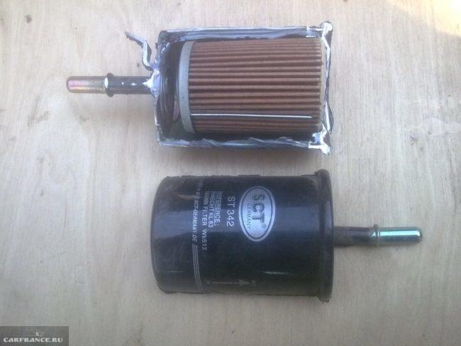 Грязный топливный фильтр ВАЗ-2112