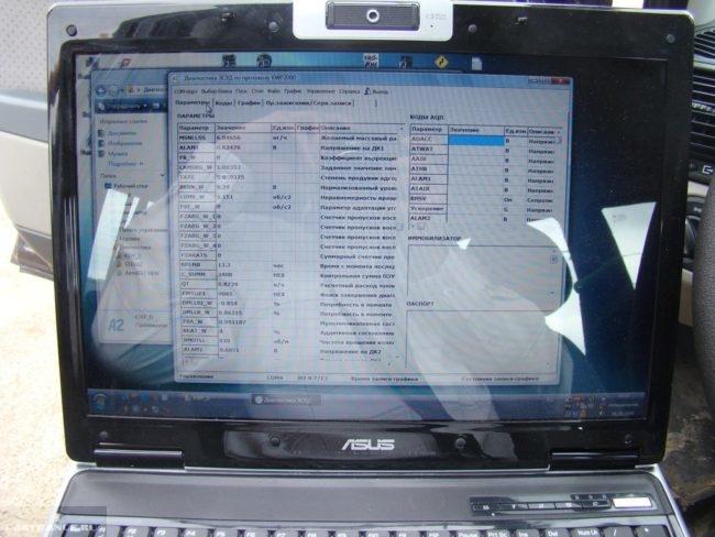 ПО которое установлено на ноутбуке для диагностики Лады Калины