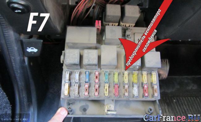 Предохраниель вентилятора охлаждения двигателя на ВАЗ-2112 в монтажном блоке