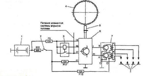 Электрическая схема зажигания ВАЗ 2112