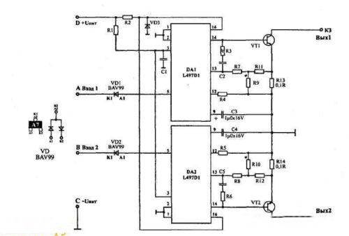 Схема двухканального коммутатора для ВАЗ 2112