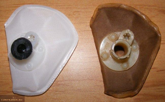 Слева новая и справа старая сетка ВАЗ-2112