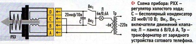 Схема прибора для проверки РХХ на ВАЗ-2112