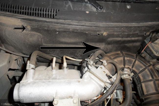 Снятие термозащиты моторного отсека на ВАЗ-2112