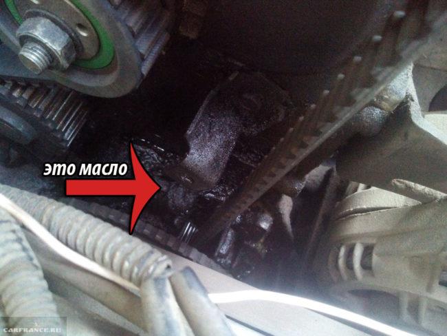 Потек масляный насос масло на двигателе ВАЗ-2112