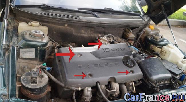 Снятие декоративной крышки двигателя на ВАЗ-2112 21120 двигатель