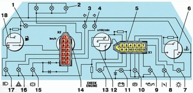Разъёмы приборной панели ВАЗ-2112