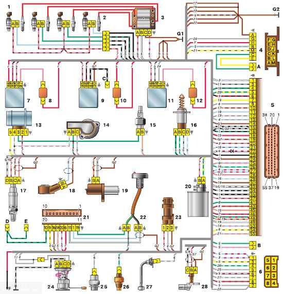 Схемы проводки эбу 2112