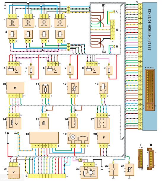Схема управления ВАЗ 21124 с одним ДК